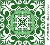tile hand painted green.... | Shutterstock . vector #561897730