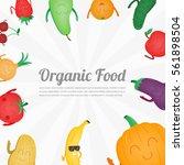cartoon fruits and vegetables.... | Shutterstock .eps vector #561898504