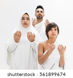 muslim family posing as ready... | Shutterstock . vector #561899674