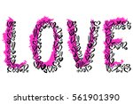 love letters hearts grunge hand ... | Shutterstock .eps vector #561901390