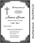 funeral template card with... | Shutterstock .eps vector #561904123