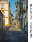 Small photo of Street of Evora at the end of the day