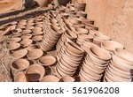 handmade clay bowls stacked in... | Shutterstock . vector #561906208