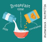 breakfast with milk and... | Shutterstock .eps vector #561907726