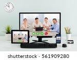 computer desktop with digital...   Shutterstock . vector #561909280