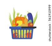 vegetable shop basket flat... | Shutterstock .eps vector #561910999