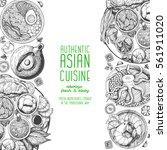asian food frame. menu design... | Shutterstock .eps vector #561911020