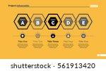 five hexagons diagram slide... | Shutterstock .eps vector #561913420