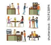 vector set of coffee room... | Shutterstock .eps vector #561913894