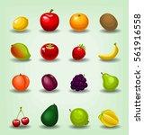 vector cartoon isolated fruits...