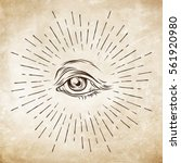 hand drawn grunge sketch eye of ... | Shutterstock .eps vector #561920980
