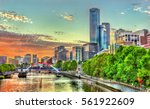 Sunset Over The Yarra River In...