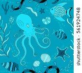 vector seamless pattern... | Shutterstock .eps vector #561924748