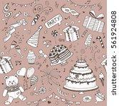seamless pattern vector doodle... | Shutterstock .eps vector #561924808