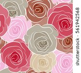 Stock photo vintage watercolor roses hand drawn seamless pattern in beige pink and red colors 561942568