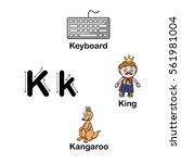 alphabet letter k keyboard king ... | Shutterstock .eps vector #561981004