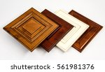 Stock photo modern style of wooden kitchen cabinet doors background blurry living room 561981376