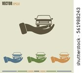 hand and car vector icon   Shutterstock .eps vector #561988243
