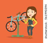 caucasian woman working in bike ...   Shutterstock .eps vector #561990394