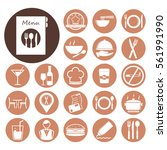 restaurant icon set.vector... | Shutterstock .eps vector #561991990