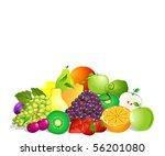 summer fruit set | Shutterstock .eps vector #56201080