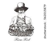 farmer holding a basket of... | Shutterstock .eps vector #562015879
