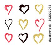 set of doodle hearts in style ... | Shutterstock .eps vector #562031098