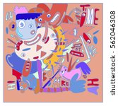 vector illustration hipster... | Shutterstock .eps vector #562046308
