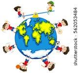 boy doing different activities... | Shutterstock .eps vector #562053484