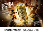 energy drink contained in golden can, with light element and running people shadows surrounding, gold background, 3d illustration | Shutterstock vector #562061248