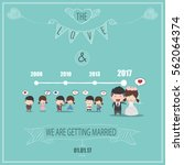 duration cute cartoon wedding... | Shutterstock .eps vector #562064374