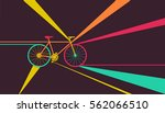 Conceptual Illustration of a Bicycle with Colorful Streaks of Light as its Background | Shutterstock vector #562066510