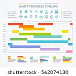 gantt progress line business... | Shutterstock .eps vector #562074130