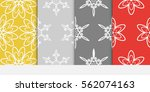set of damask floral seamless... | Shutterstock .eps vector #562074163