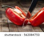 Big Kitchen Knife Cut A Bell...
