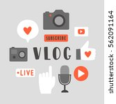 vlog elements. hand drawn icons.... | Shutterstock .eps vector #562091164