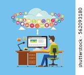 user using online applications... | Shutterstock .eps vector #562093180