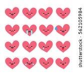 cute heart emoticons set.... | Shutterstock .eps vector #562105984