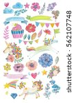 cute watercolor magic unicorn... | Shutterstock . vector #562107748