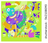 vector illustration hipster... | Shutterstock .eps vector #562108090
