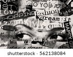 woman's eyes on grunge... | Shutterstock . vector #562138084