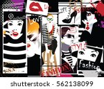 group portraits of fashion... | Shutterstock .eps vector #562138099