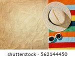 top view of sandy beach with... | Shutterstock . vector #562144450