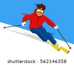 cool skier going downhill.