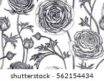 spring flowers seamless floral... | Shutterstock .eps vector #562154434