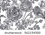 spring flowers seamless floral... | Shutterstock .eps vector #562154500
