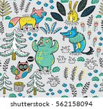 enchanted forest. vector... | Shutterstock .eps vector #562158094
