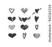 vector hand drawn hearts icon...