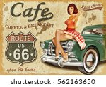 cafe route 66 vintage poster | Shutterstock . vector #562163650