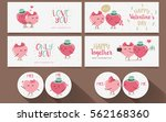 set of happy valentines day.... | Shutterstock .eps vector #562168360